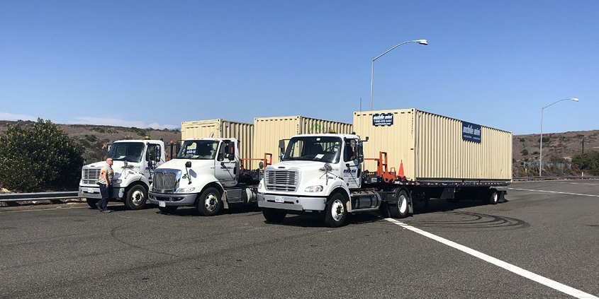 Trucks with mobile office trailers attached