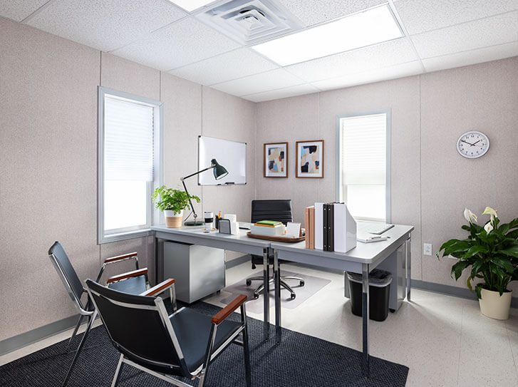 Mobile office interior furnished with office equipment