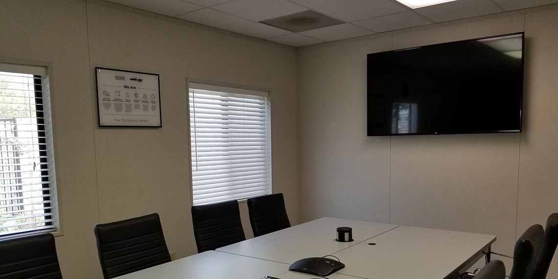 conference room inside a mobile office trailer at WillScot Bakersfield, CA