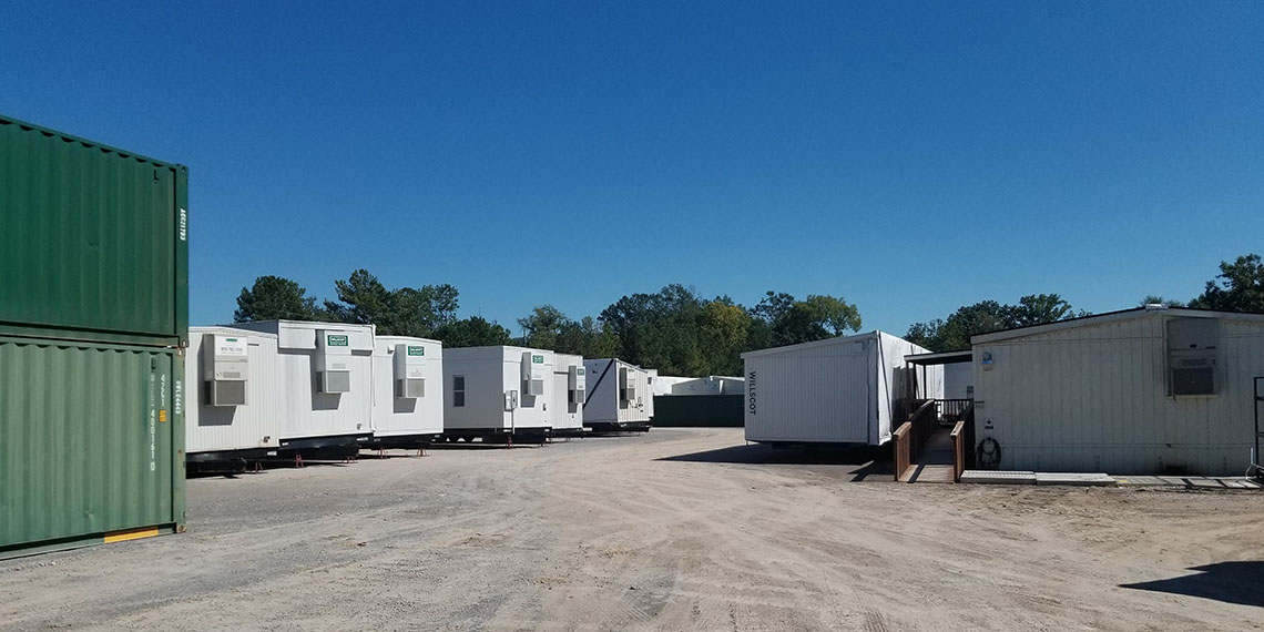 mobile office trailers and storage containers in the yard at WillScot Birmingham, AL