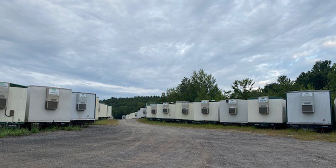 multiple mobile office trailers at the WillScot Boston, MA yard