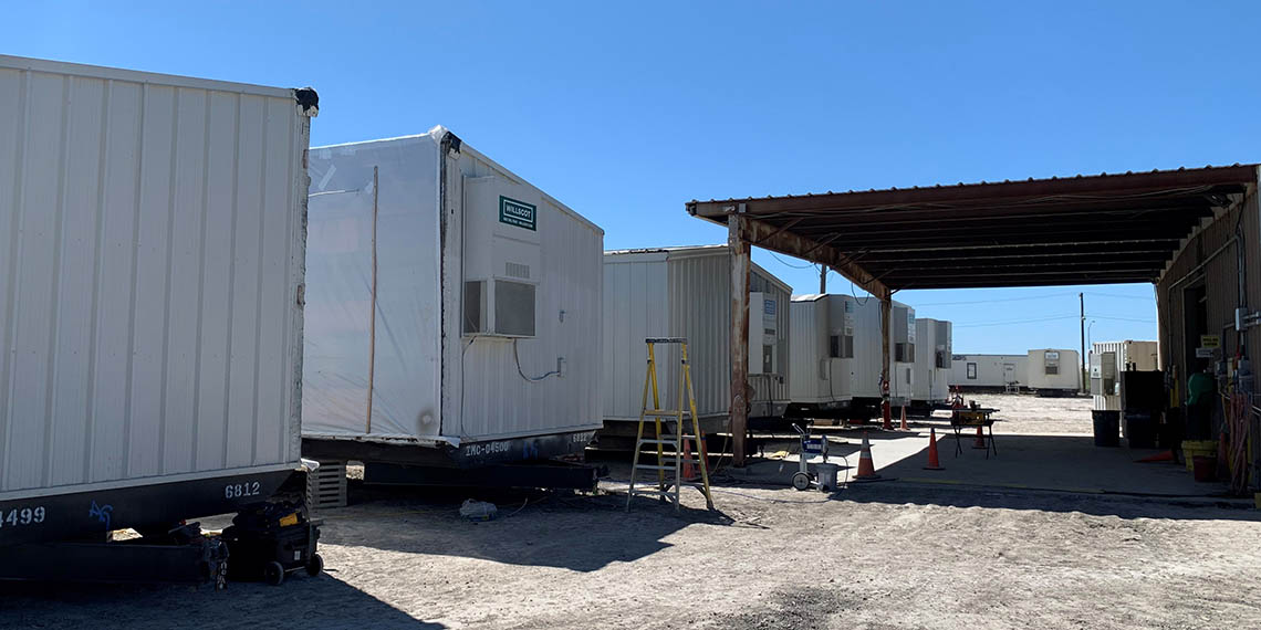 modular office products lined up at the Willscot Corpus Christi, TX yard