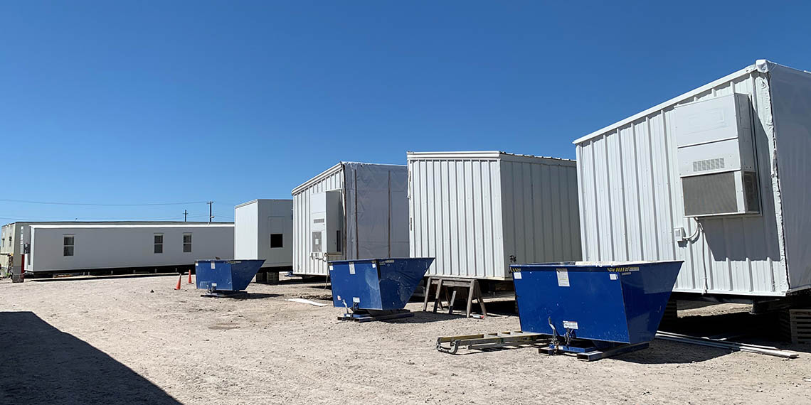 mobile offices lined up at the Willscot Corpus Christi, TX yard