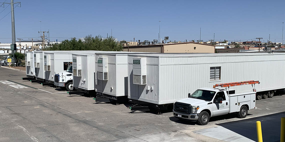 a row of trailer offices from WillScot El Paso, TX
