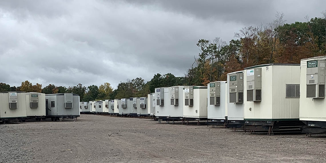 WillScot Hartford, CT office trailers lined up