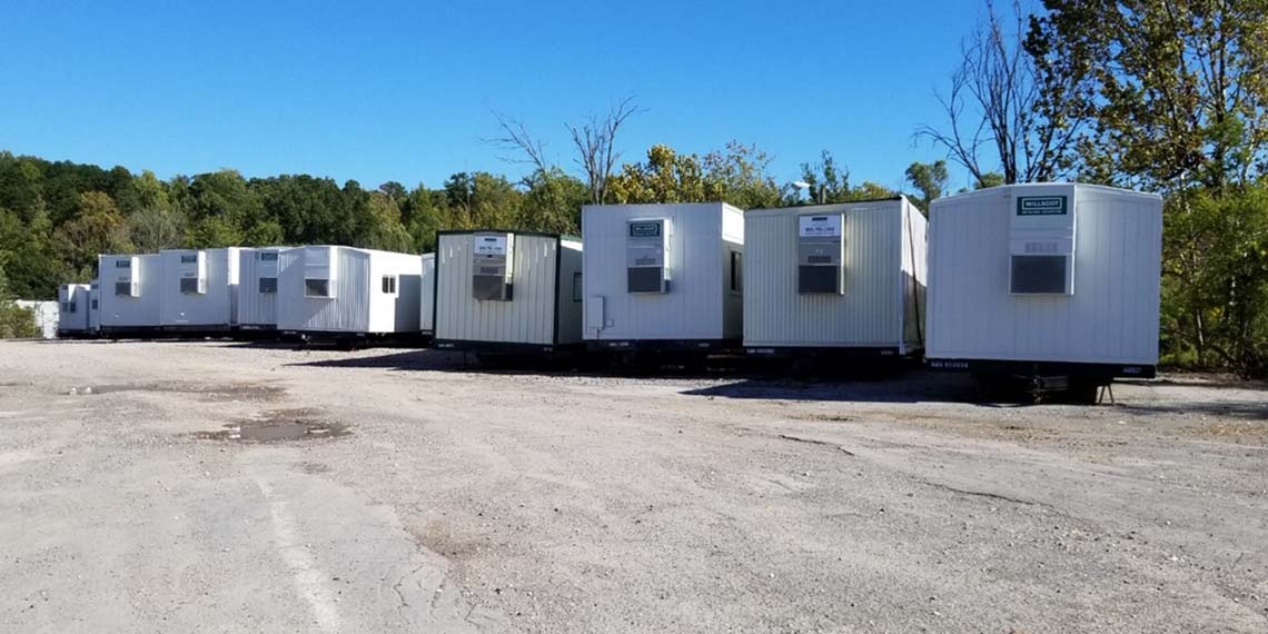 modular offices lined up at the WillScot Knoxville, TN location