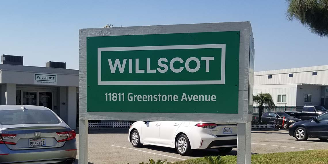 an exterior sign for the WillScot Los Angeles, CA office