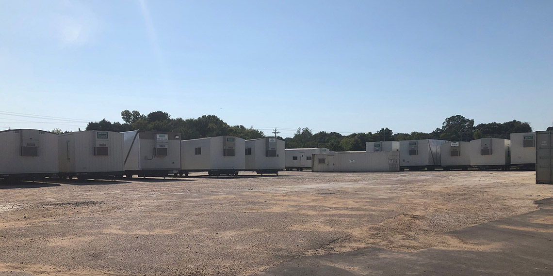 various types of modular buildings at the WillScot Memphis, TN lot