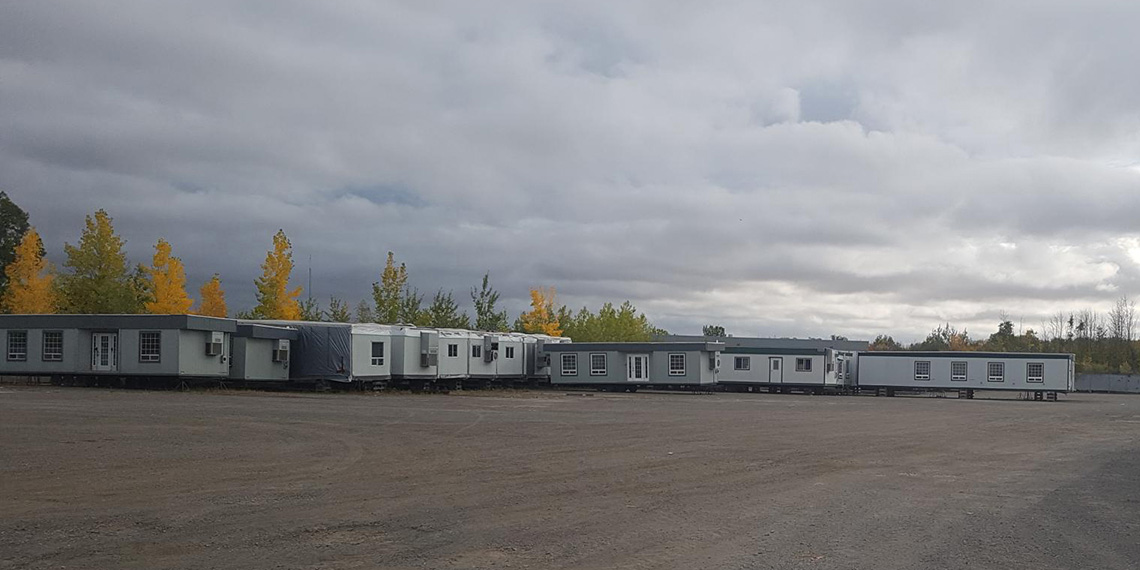 various mobile office trailers at WillScot Montreal