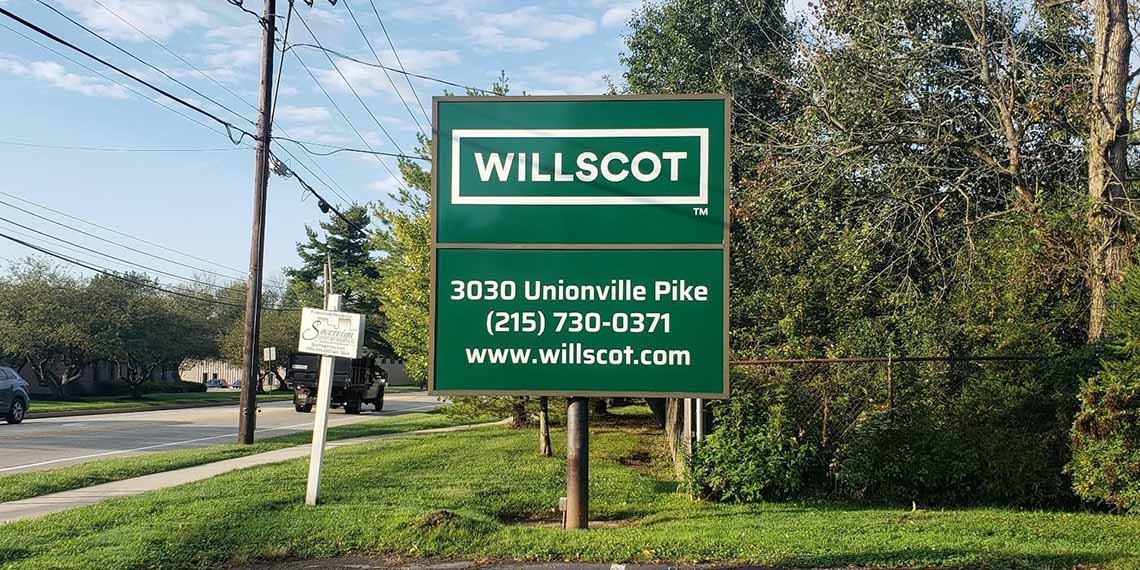 an outside sign for the WillScot North Philadelphia, PA location