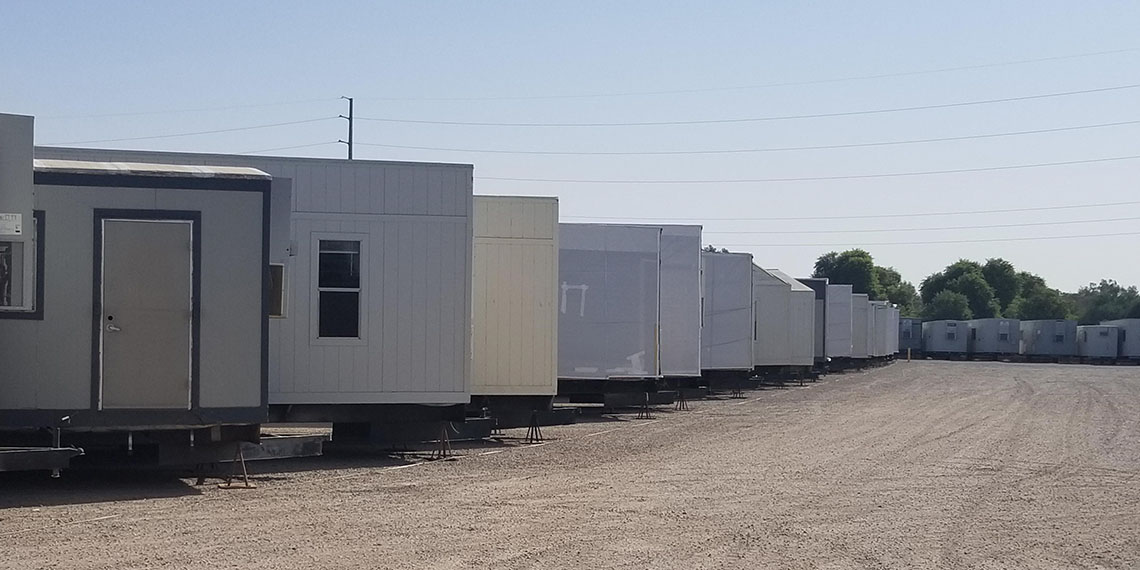 various mobile office trailers at WillScot Phoenix, AZ