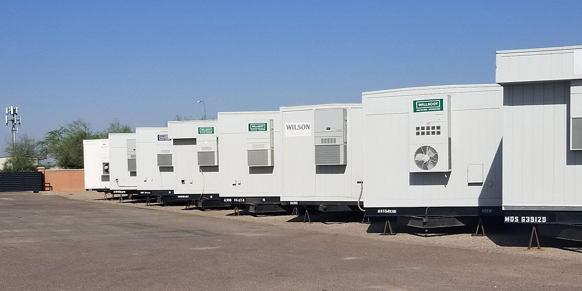 a line of mobile office trailers at WillScot Phoenix, AZ