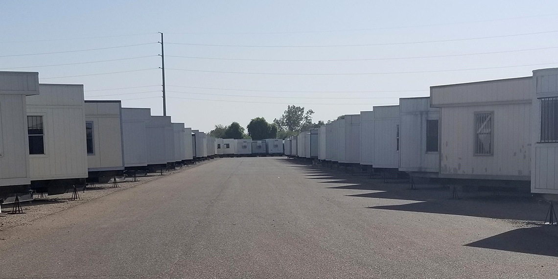 rows of mobile office trailers at WillScot Phoenix, AZ