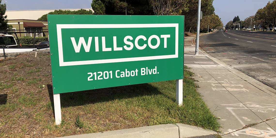 a close up of the sign for the WillScot San Francisco, CA office