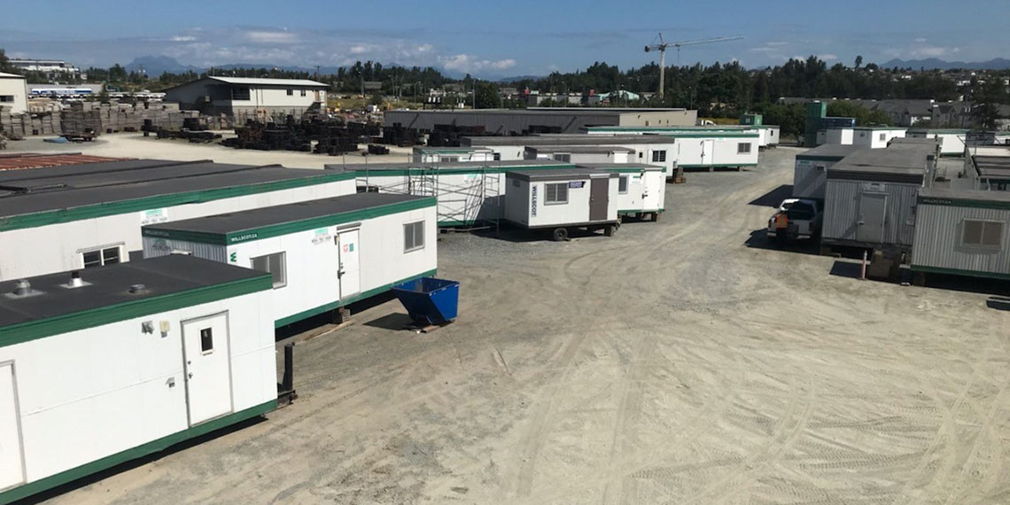 aerial view of mobile offices and modular buildings in the lot at WillScot Vancouver