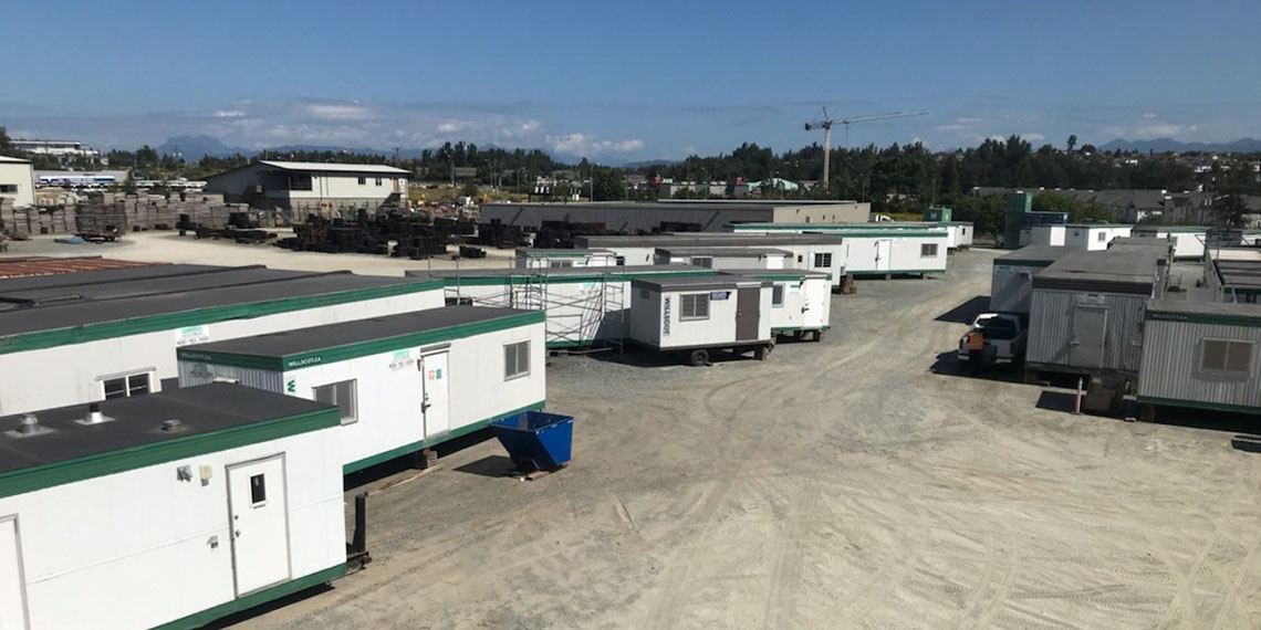 aerial view of mobile office trailers in the lot at WillScot Vancouver