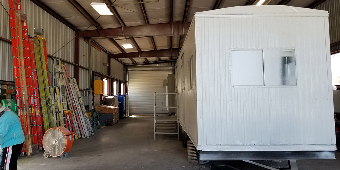 mobile office trailer being updated in the shop at WillScot West Palm Beach, FL