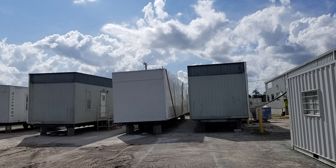 backside of mobile office trailers at WillScot West Palm Beach, FL