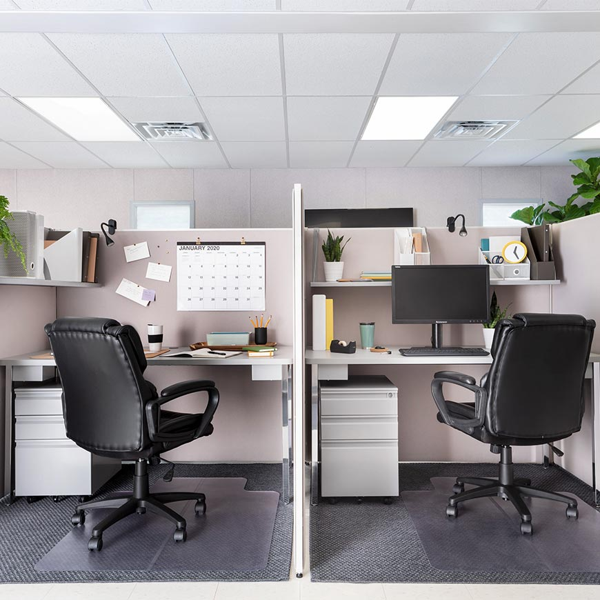 two cubicles set up side by side in a modular office